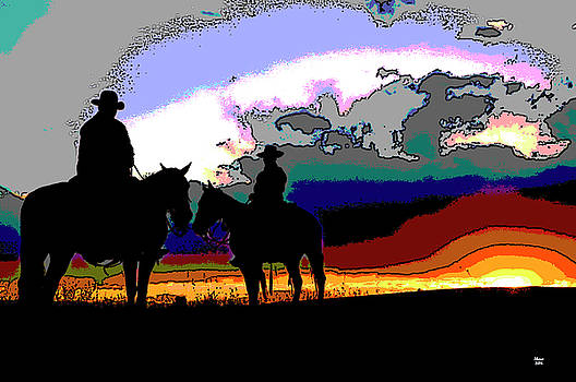 Cowboys In Silhouette by Charles Shoup
