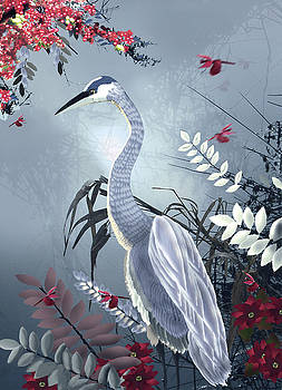 Crane and Dragonflies by Lois Mountz
