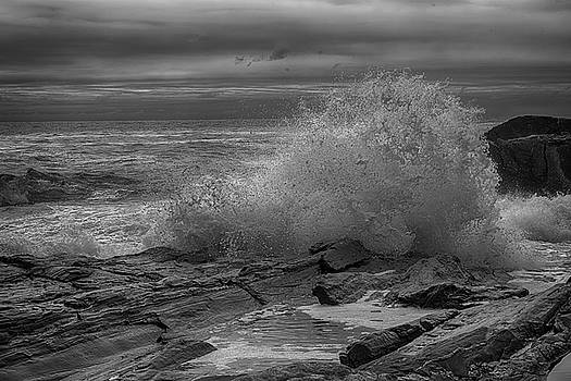 Crashing Wave HDR Black and White by Sherman Perry