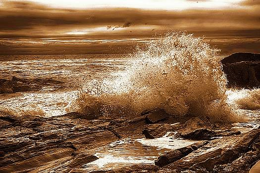 Crashing Wave HDR Golden Glow by Sherman Perry