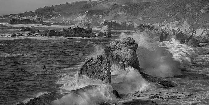 Crashing Waves Big Sur CA BW by Steve Gadomski
