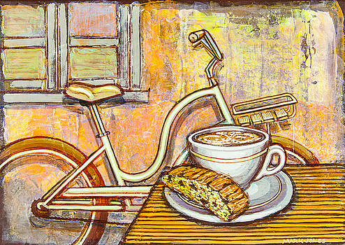 Cream Electra Town bicycle with cappuccino and biscotti by Mark Howard Jones