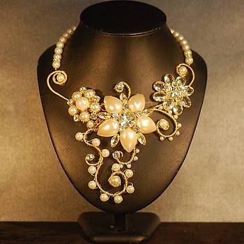 Cream Pearl and Crystal Gold Wire Wrapped Necklace by Janine Antulov