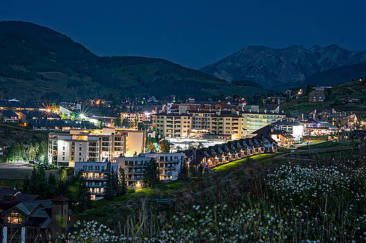 Crested Butte Village Under Full Moon by Michael J Bauer