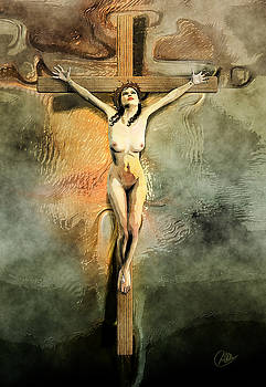 Crucified Woman Art by Quim Abella