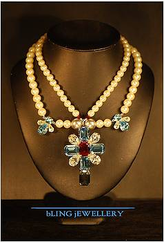 Crystal Cross with Angels and Pearl Necklace by Janine Antulov