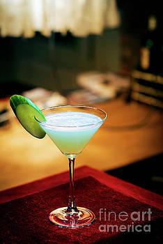 Cucumber Mint Modern Trendy Martini Cocktail In Bar  by Jacek Malipan