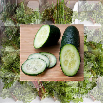 Cucumber Salad fresh veggie vegetable kitchen cuisine chef posters pod pillows curtains duvets tote  by Navin Joshi