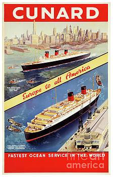 Cunard Vintage Travel Poster Restored by Carsten Reisinger