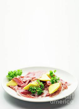 Cured Parma Serrano Style Ham With Fresh Mango Salad Snack by Jacek Malipan