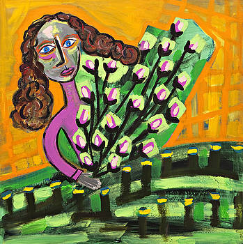 Curly Hair Lady with Pink Flowers by Maggis Art
