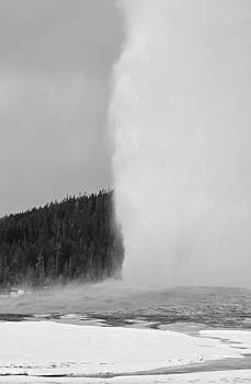 Black and White Winter Eruption of Old Faithful Geyser by Bruce Gourley