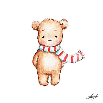 Cute Teddy Bear with Red and White Scarf by Anna Abramska