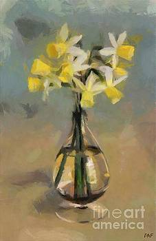 Daffodils in Glass Vase by Dragica Micki Fortuna