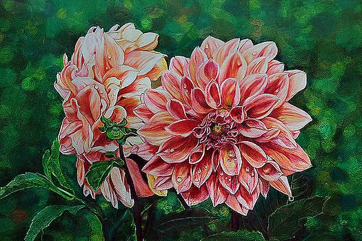 Dahlia's Beauty Drawing by Janet Pancho Gupta