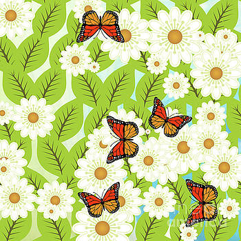 Daisies and butterflies by Gaspar Avila