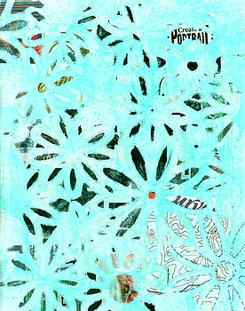 Daisy Art In Teal And Black by Sandra Foster