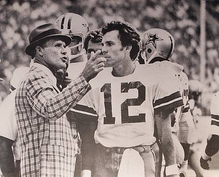 Dallas Cowboys Head Coach Tom Landry and #12 Quarterback Roger Staubach by Donna Wilson