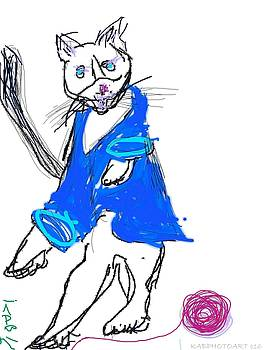January - Dancing Cat in a Blue Sweater by Kathy Barney