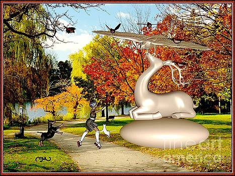 Dancing In Front Of The Statue Of The Deer 44 by Pemaro