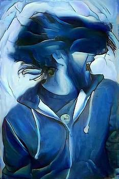 Dancing portrait of wild male hair in blue by MendyZ