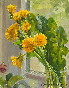 Dandelions in the cup by Victoria Kharchenko