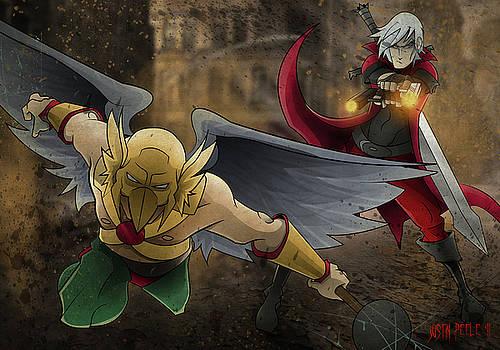 Dante vs. Hawkman by Justin Peele