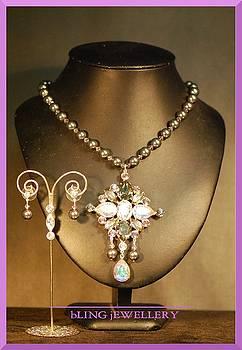 Dark Grey Swarovski Pearl and Crystal Pendant Necklace by Janine Antulov