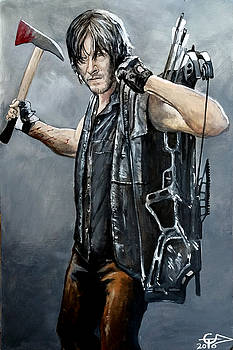 Daryl With Axe by Tom Carlton