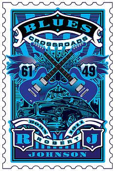 David Cook UMGX Vintage Studios Blues Crossroads Illustrated Stamp Art Poster by David Cook  Los Angeles Prints