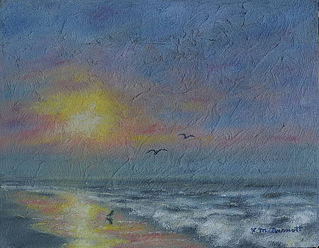 Dawn Mist - Three Gulls by Kathleen McDermott