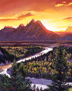 Dawn Over The Grand Tetons by David Lloyd Glover