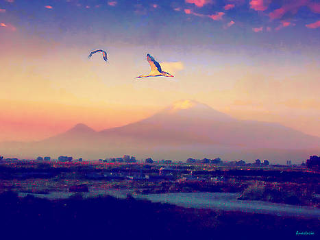 Dawn with Storks and Ararat from Night Train to Yerevan by Anastasia Savage Ealy
