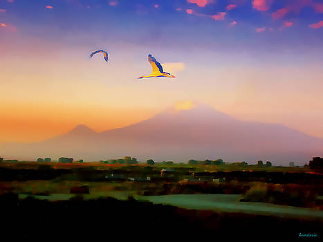 Dawn with Storks and Ararat from Night Train to Yerevan II by Anastasia Savage Ealy