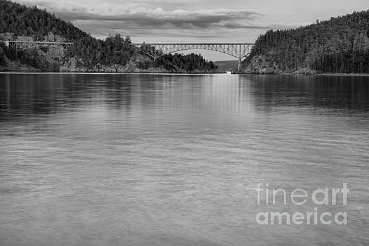 Deception Pass Sunset Black And White by Adam Jewell