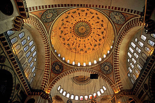 Sami Sarkis - Decorated dome and windows inside the Suleymaniye Mosque in Istanbul