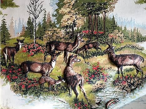 Deers In Woods by Joseph Frank Baraba