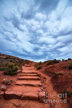 Delicate Stairway in Stormy Weather - Moab - Utah by Gary Whitton