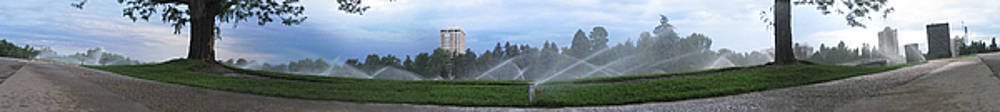 Denver Cheesman Park with Sprinklers Wide Panorama by Jeff Schomay