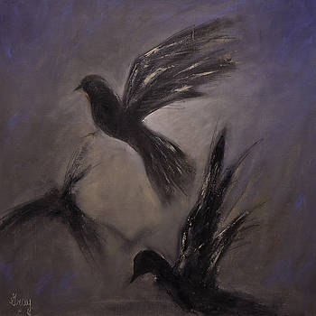 'DEPARTURE' Birds in Flight Original Bird Painting on Strecthed Canvas by Gray  Artus
