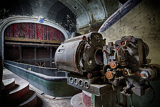 Derelict film projector at abandoned movie theatre by Dirk Ercken