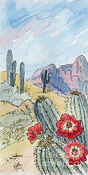 Desert Scene One Ink and Watercolor by Marilyn Smith