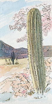 Desert Scene Two Ink and Watercolor by Marilyn Smith