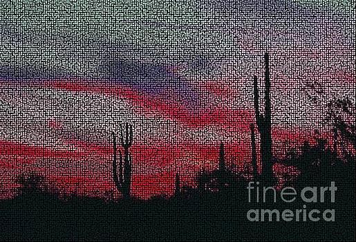 Desert Sunset Mosaic Northern Lights Version 2 by Joseph Baril