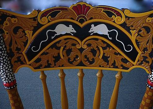 Detail Front Top of Painted Cat Chair by Andrea Ellwood