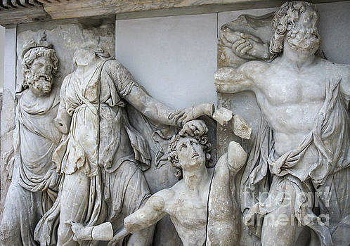 Detail Pergamon altar in marble by Patricia Hofmeester