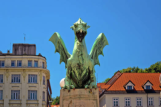 Details of Dragon bridge of Ljubljana by Dalibor Brlek