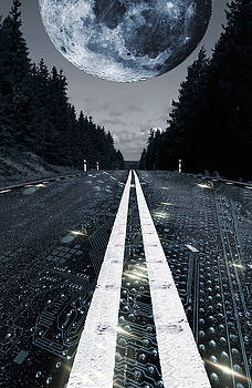 Digital Highway And A Full Moon by Christian Lagereek