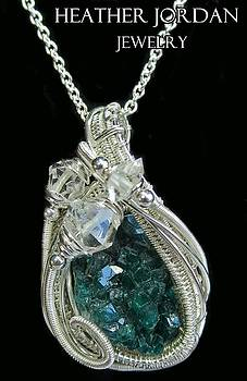 Dioptase Wire-Wrapped Pendant in Sterling Silver with Herkimer Diamonds - DIOPSS1 by Heather Jordan