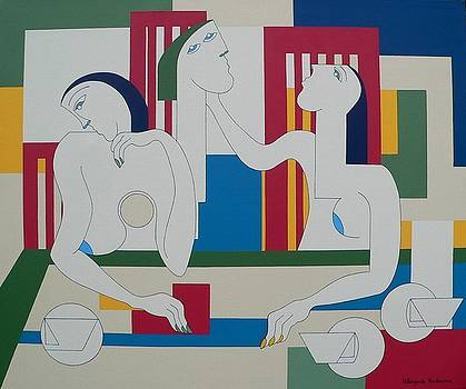 Discussion Round The Table by Hildegarde Handsaeme